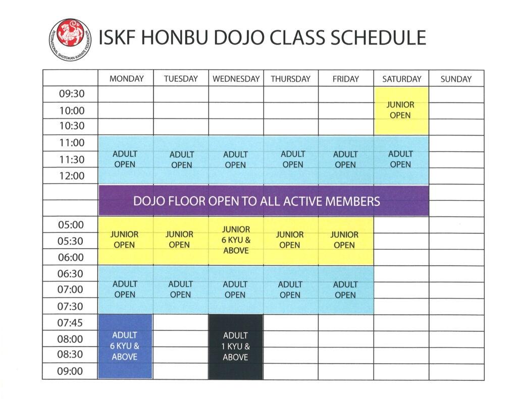 ISKF Honbu dojo class schedule